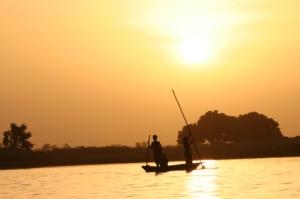 canoe on African lake