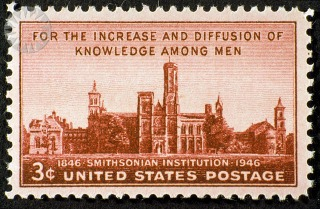 1946 stamp commemorating the centennial of The Smithsonian Institution. Photo courtesy of The Smithsonian Institution